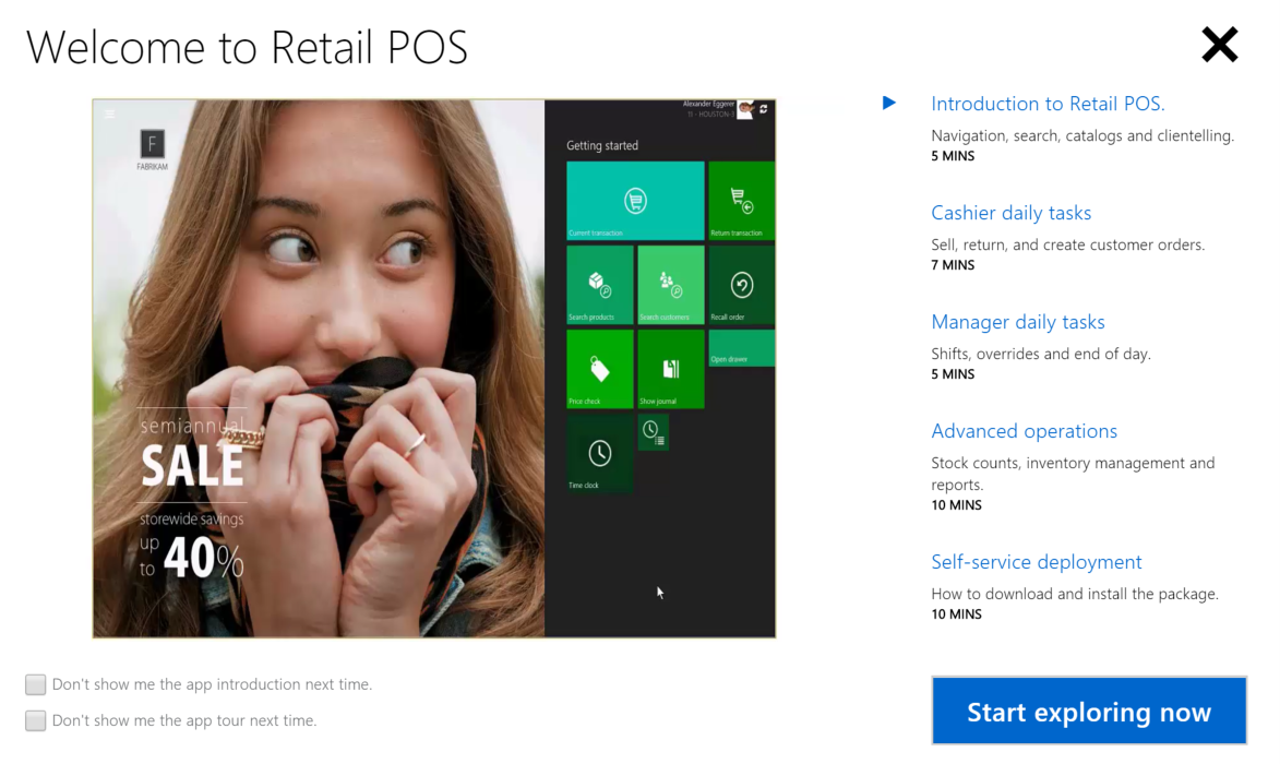 Dynamics AX Modern POS New Feature: Welcome to Retail POS introduction screen