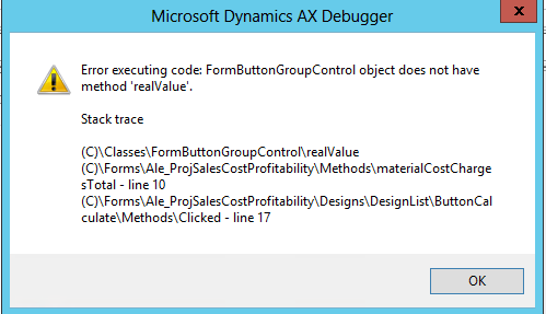"FormButtonGroupControl object does not have method ""realValue"""