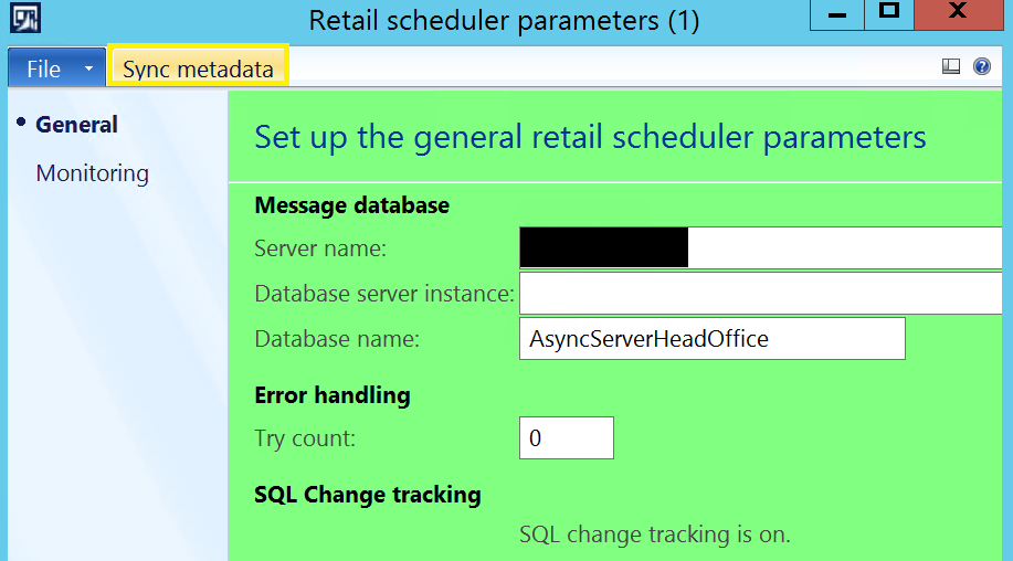 Dynamics AX 2012 R3 Retail Error when syncing metadata: 'The table [Table] does not exist'