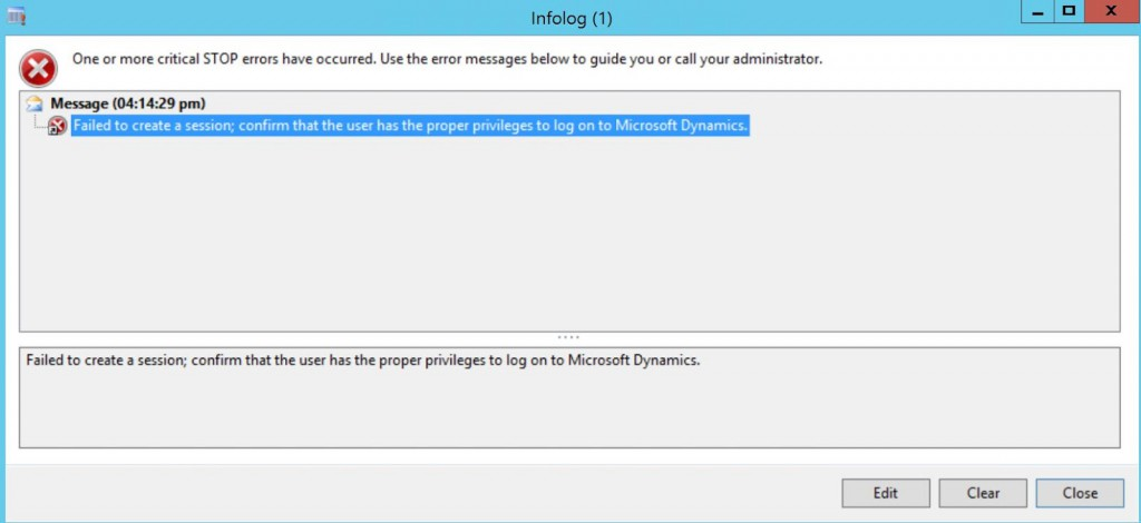 AX 2012 R3 Retail Error when running a retail distribution job: 'Failed to create a session; confirm that the user has the proper privileges to log on to Microsoft Dynamics'